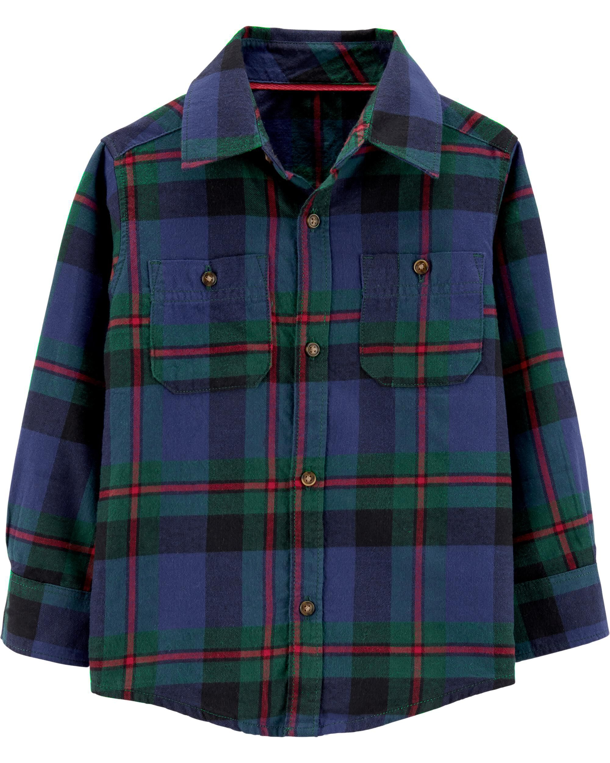 *CLEARANCE* Plaid Twill Button-Front Shirt