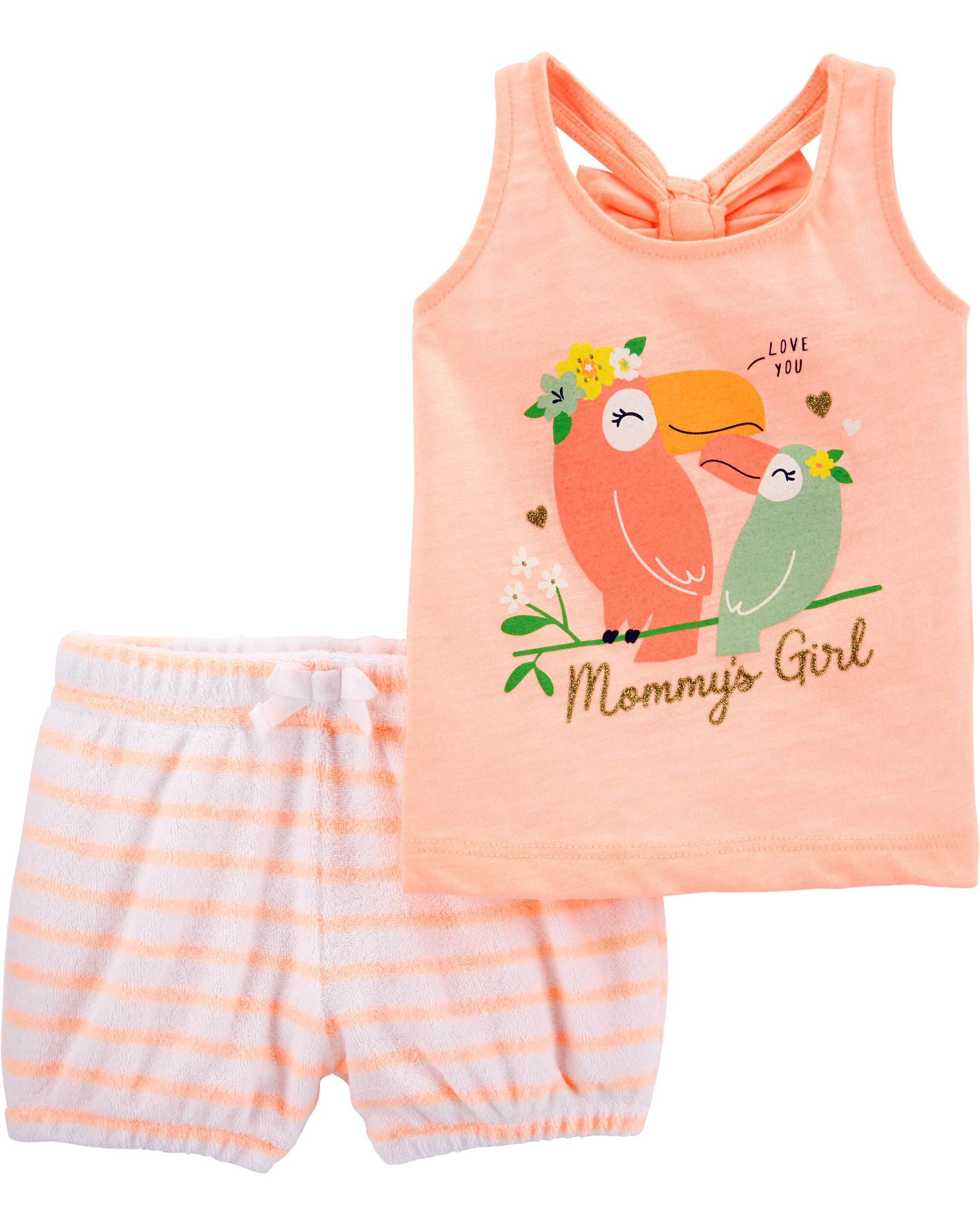 2-Piece Toucan Slub Tank & Striped Terry Short Set