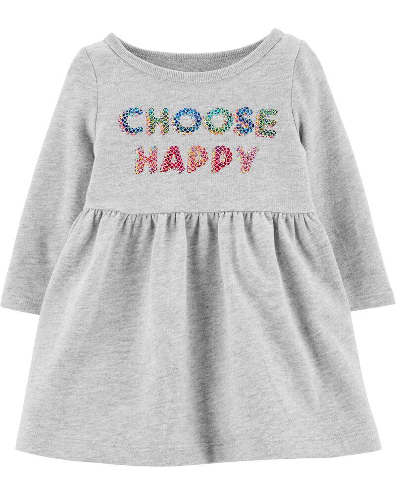 Sequin Choose Happy Dress, , hi-res