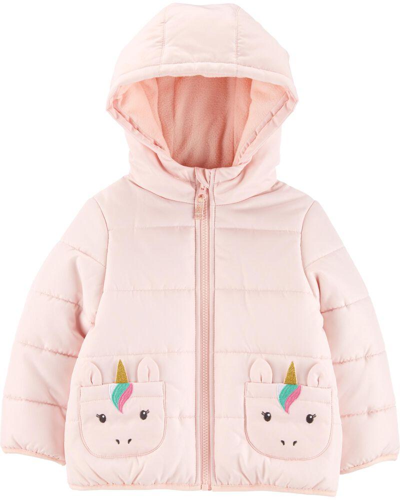 Carters Toddler Girl Zip-Up Glitter Unicorn Fleece Hoodie Jacket Outerwear 5T