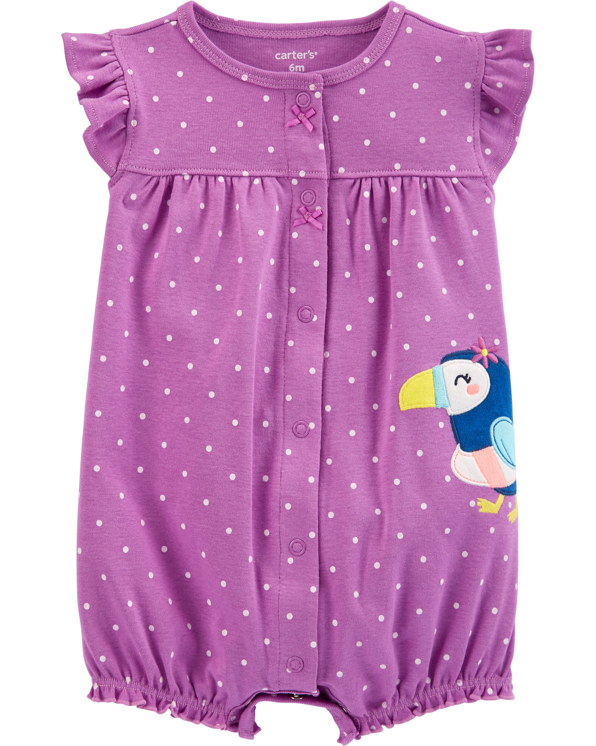 *CLEARANCE* Polka Dot Toucan Snap-Up Romper