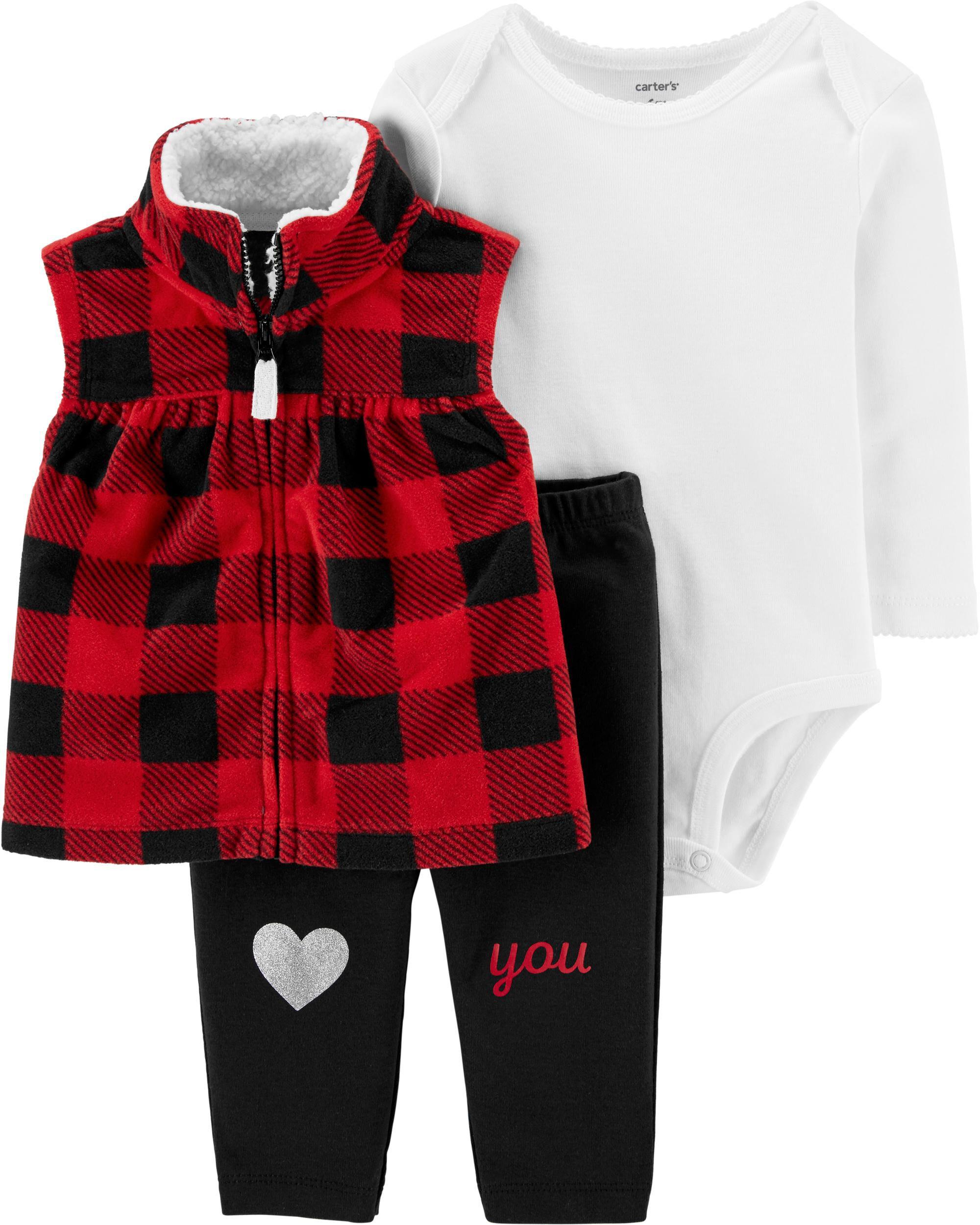 3-Piece Buffalo Check Little Vest Set