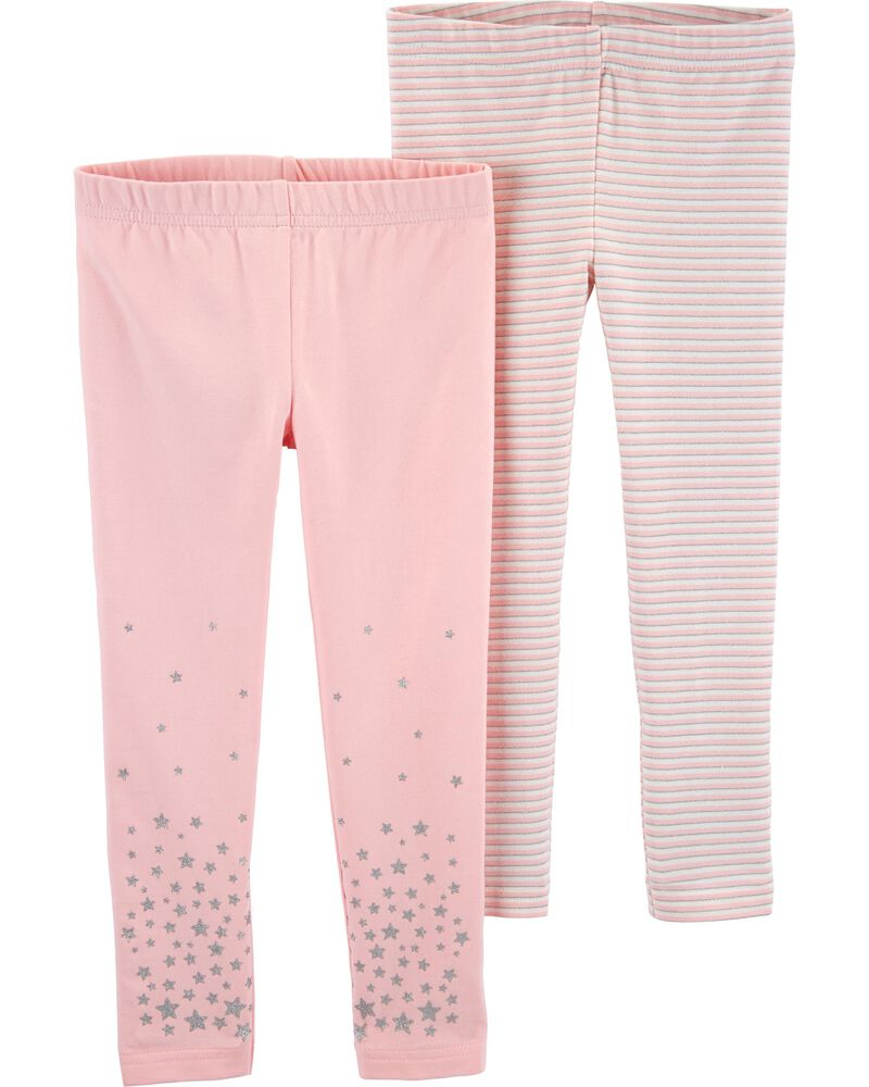 Carters Baby Girls 2-Pack Pants Pink//White 3M
