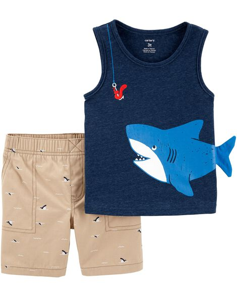 2-Piece Shark Snow Yarn Tank & Canvas Short Set