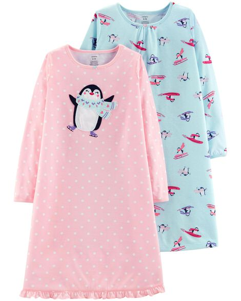 2-Pack Penguin Nightgowns