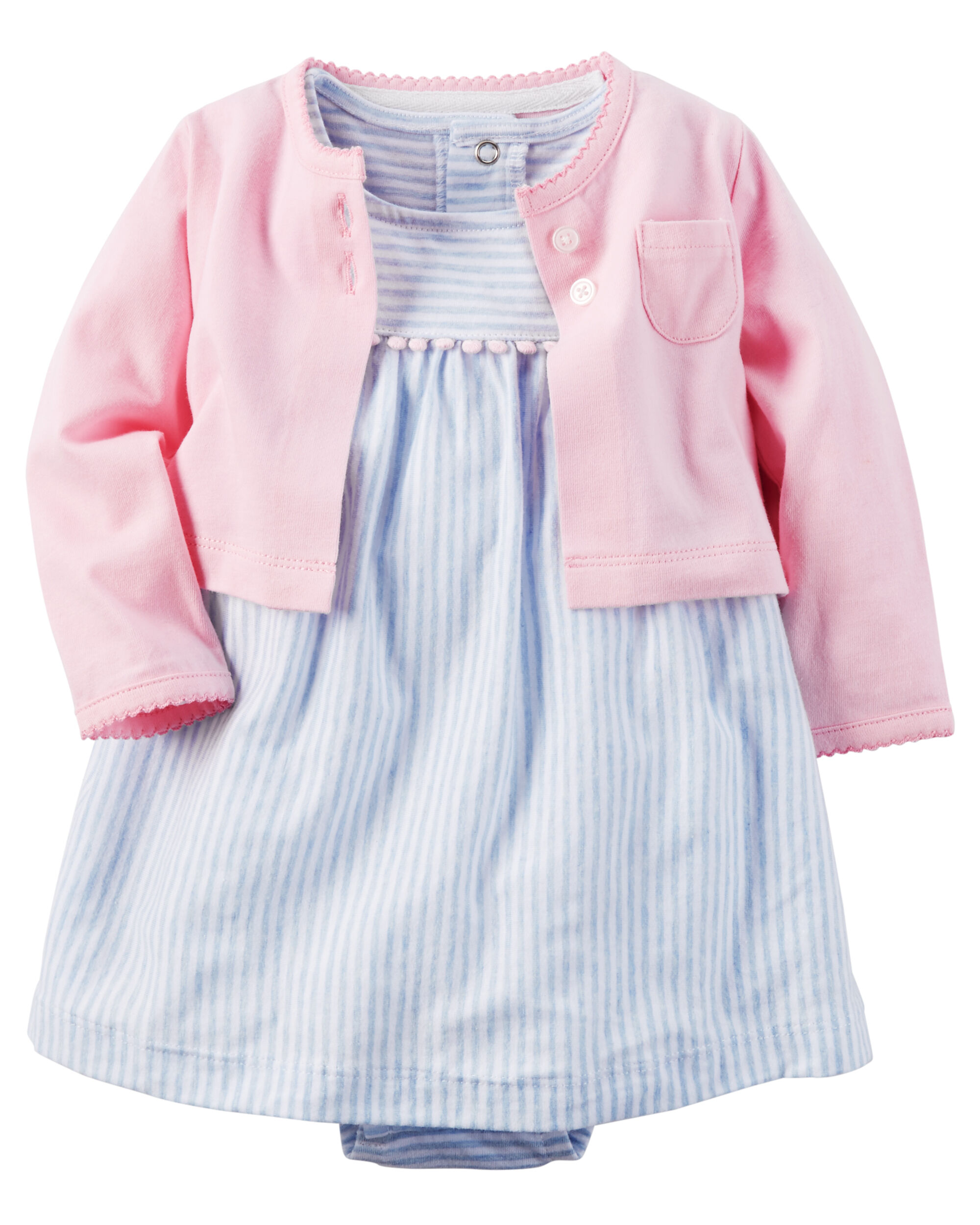 2 Piece Bodysuit Dress & Cardigan Set