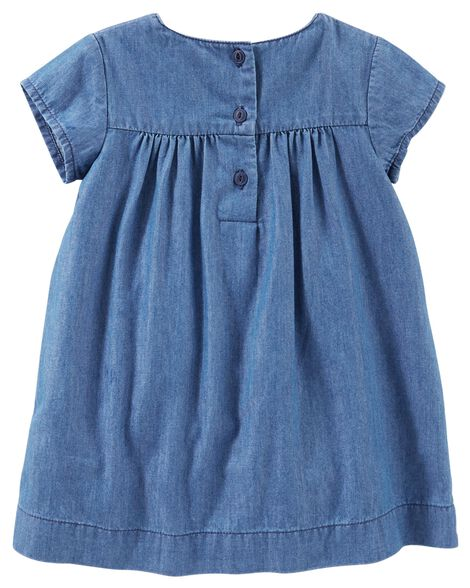 2-Piece Embroidered Chambray Dress