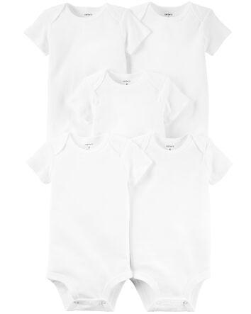Newborn Baby Bodysuits Set 4 Pack Romper Boy Girl White Plain Blank 3-9 Months