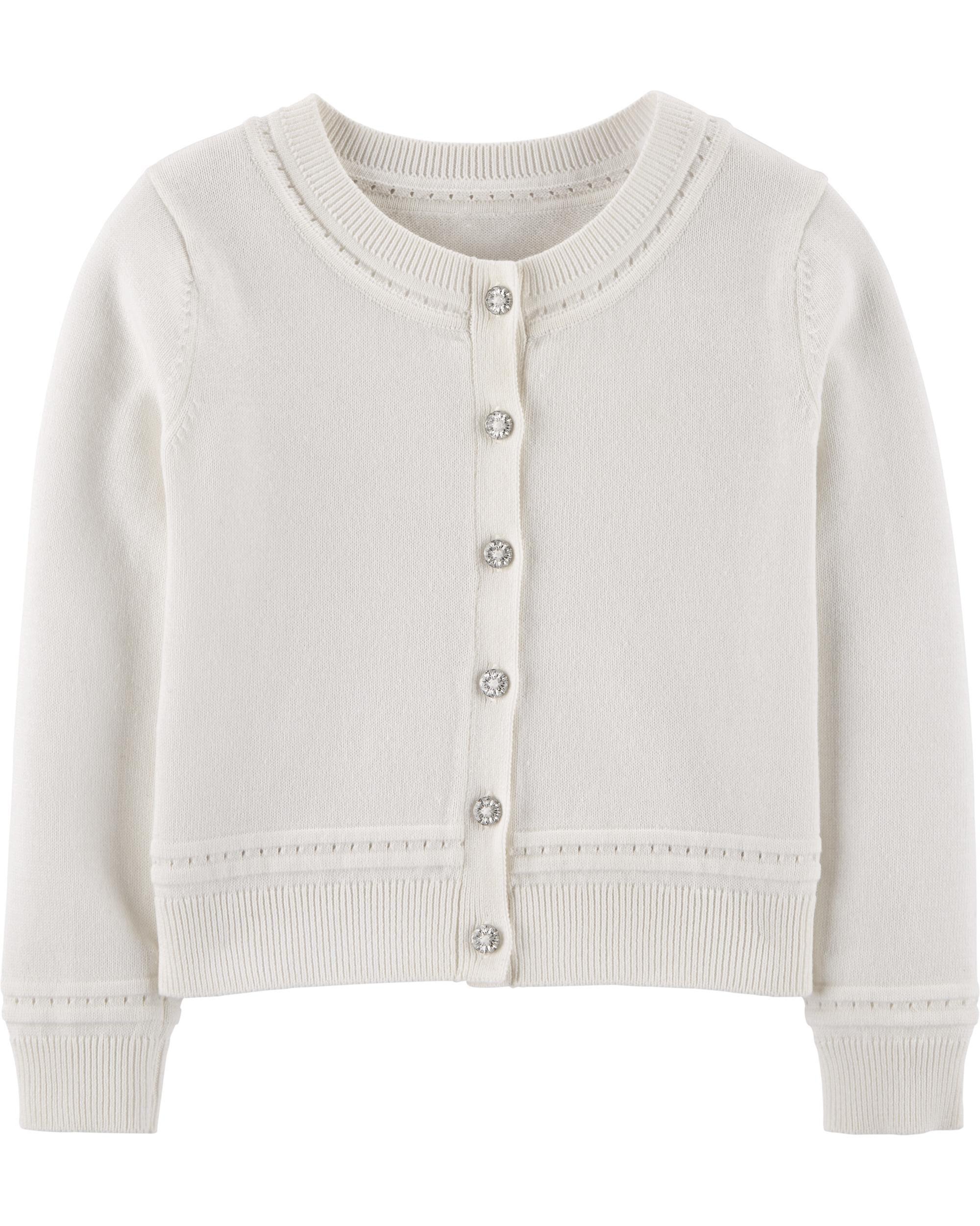 New Carter/'s Girls White Cardigan Sweater Heart Pointelle Design 2T 3T 4T 5T