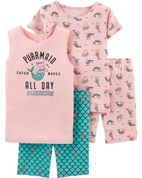 8136468f6 4-Piece Cat Mermaid Snug Fit Cotton PJs | Carters.com