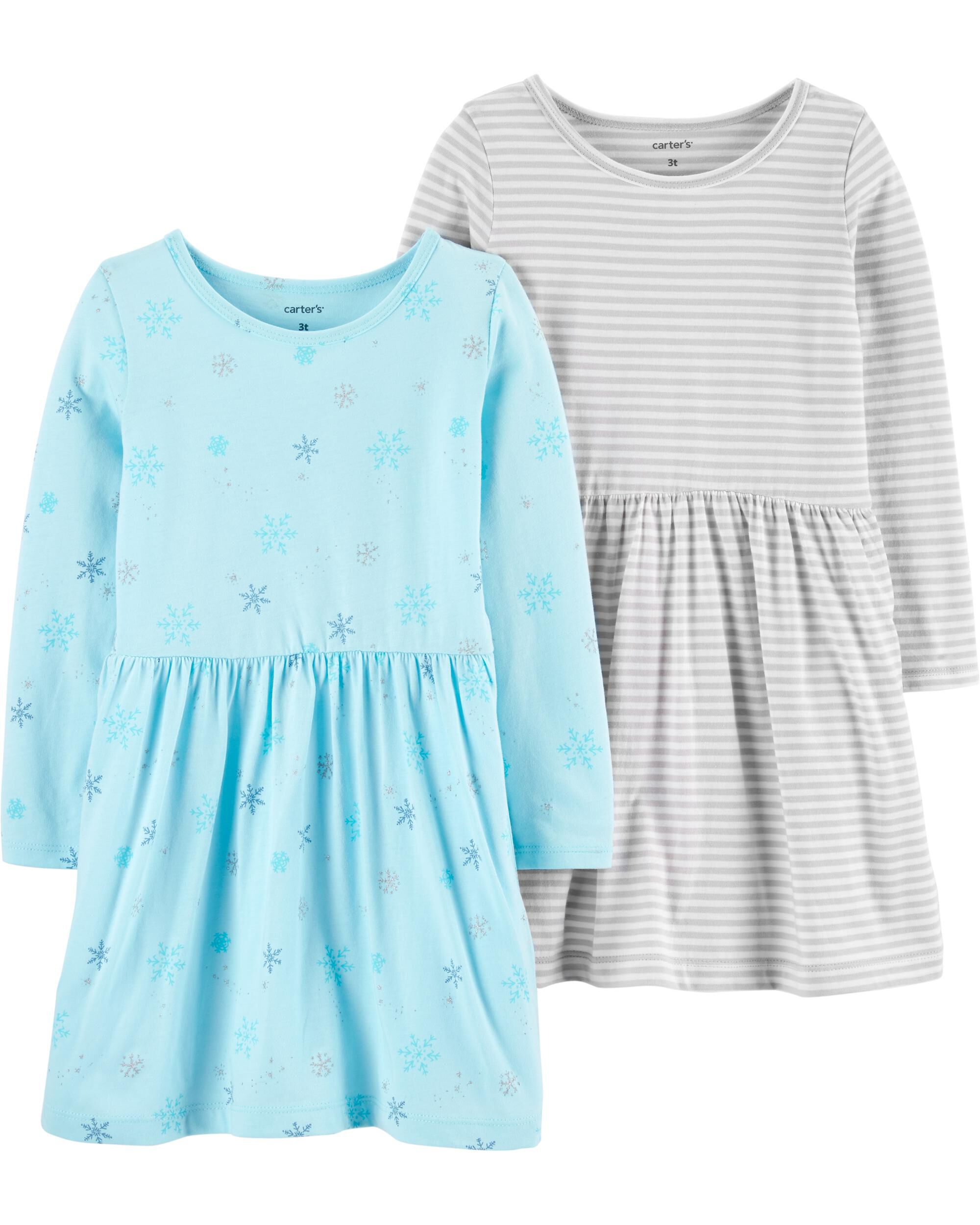 *CLEARANCE* 2-Pack Snowflake & Striped Jersey Dress Set