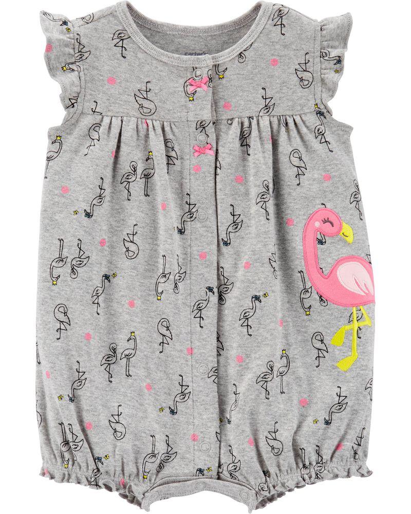 NWT Carter/'s Baby Girl Romper Flamingo gray Neon Pink 9M,18M,24M