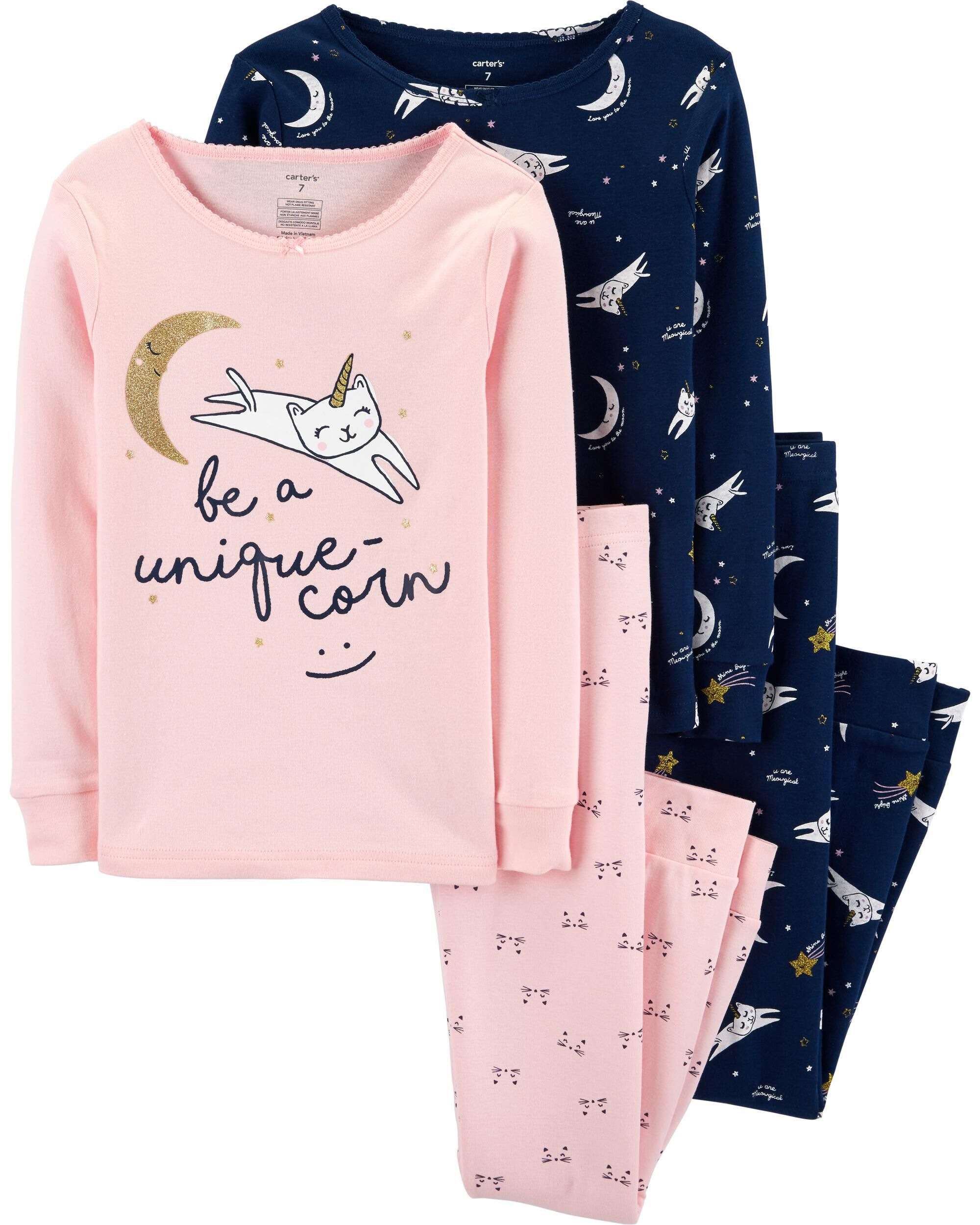 4-Piece Unicorn Cat Snug Fit Cotton PJs