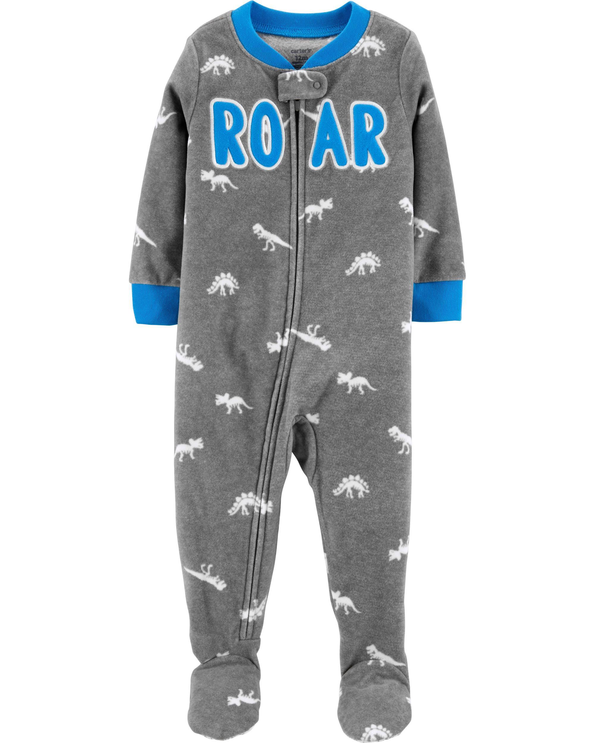 *CLEARANCE* 1-Piece Roar Fleece Footie PJs