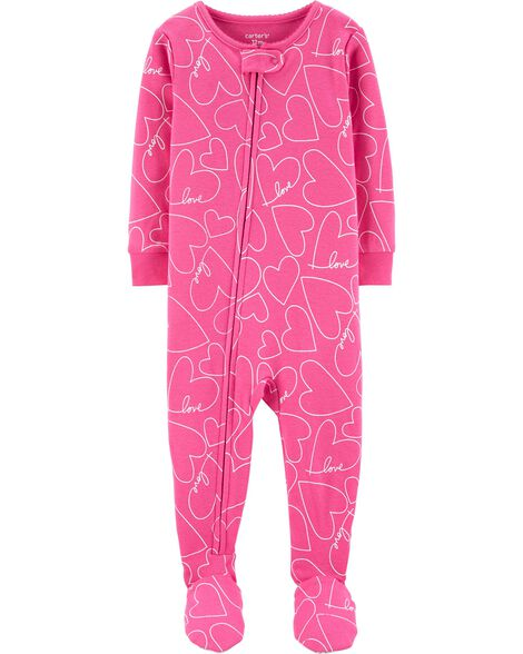 1-Piece Hearts Snug Fit Cotton Footie PJs