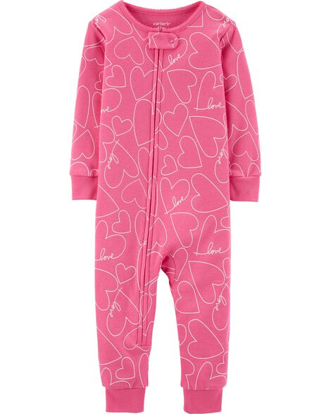 1-Piece Hearts Snug Fit Cotton Footless PJs