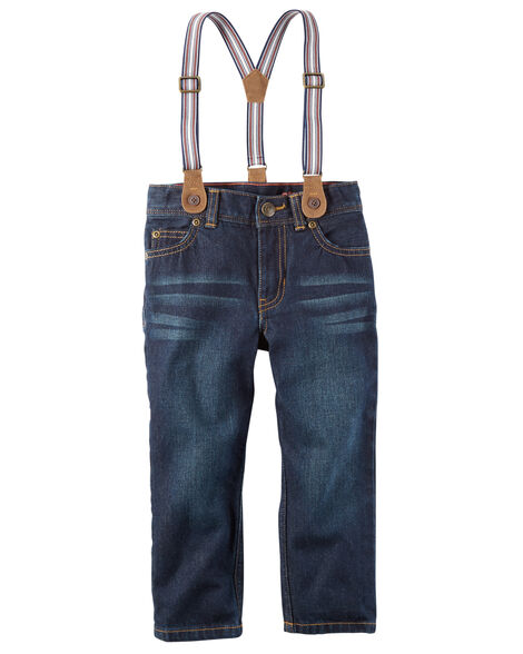 5-Pocket Straight Jeans with Suspenders