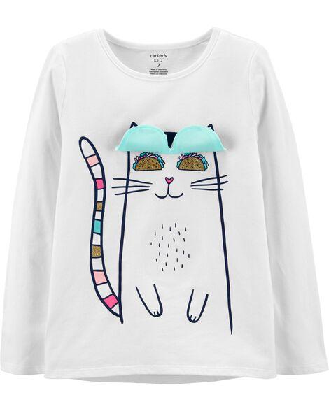 Cat Peek-A-Boo Flap Tee