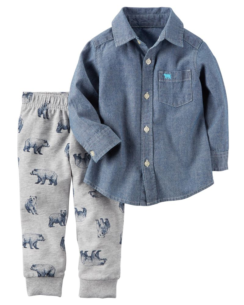 NEW Carter/'s Boy/'s 2-Piece Button Shirt with Hoodie and Jogger Pant Set