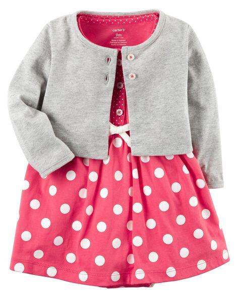 cfc7a463e 2-Piece Bodysuit Dress   Cardigan Set