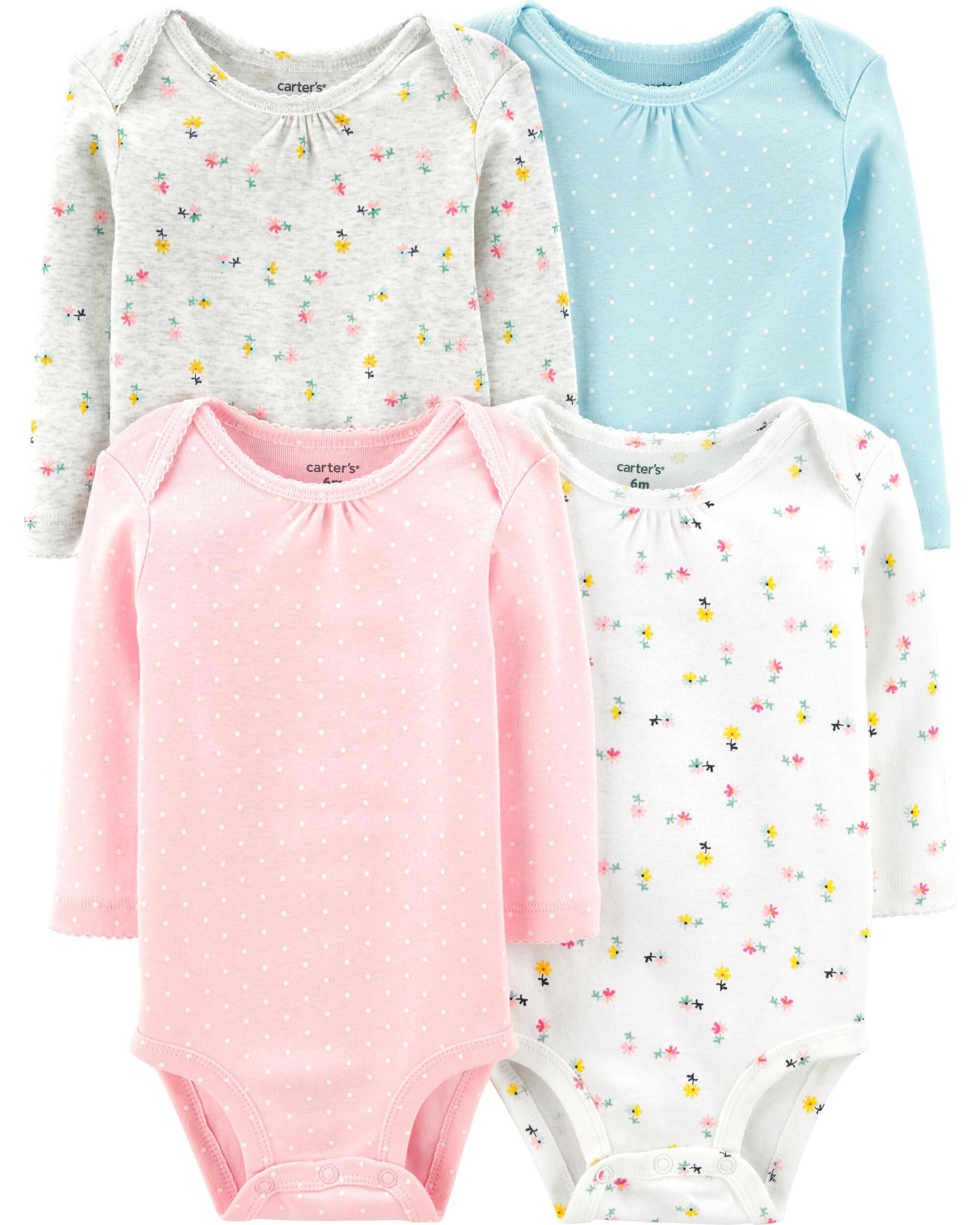 New Carter/'s 3 Pack Floral Pink Ruffle Sleeve Bodysuits Tops 9m 12m 18m Girls