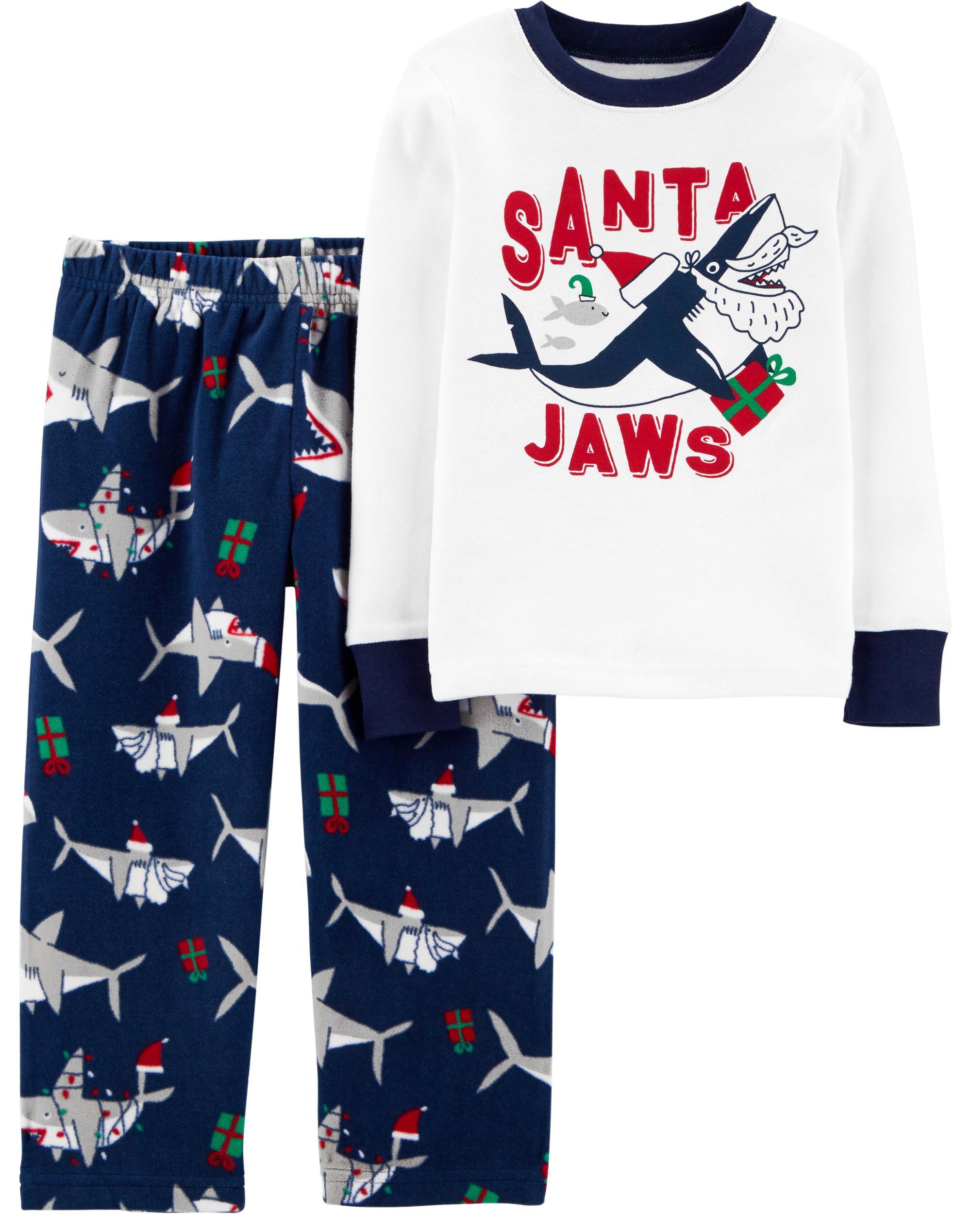 2-Piece Santa Shark Snug Fit Cotton & Fleece PJs