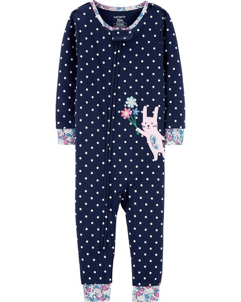 1-Piece Bunny Snug Fit Cotton Footless PJs