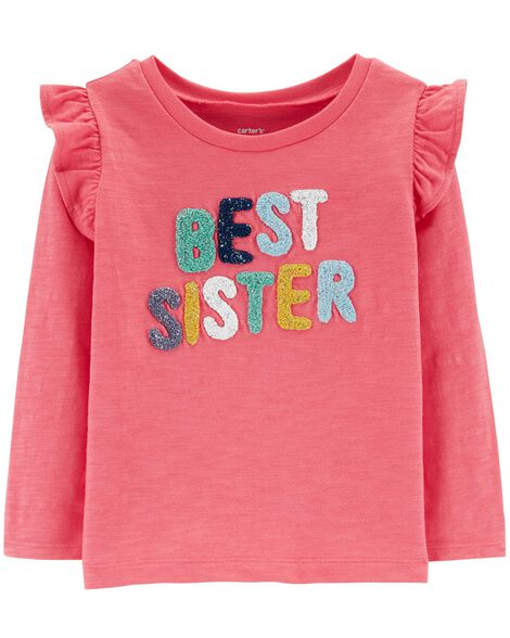 Best Sister Slub Flutter Top