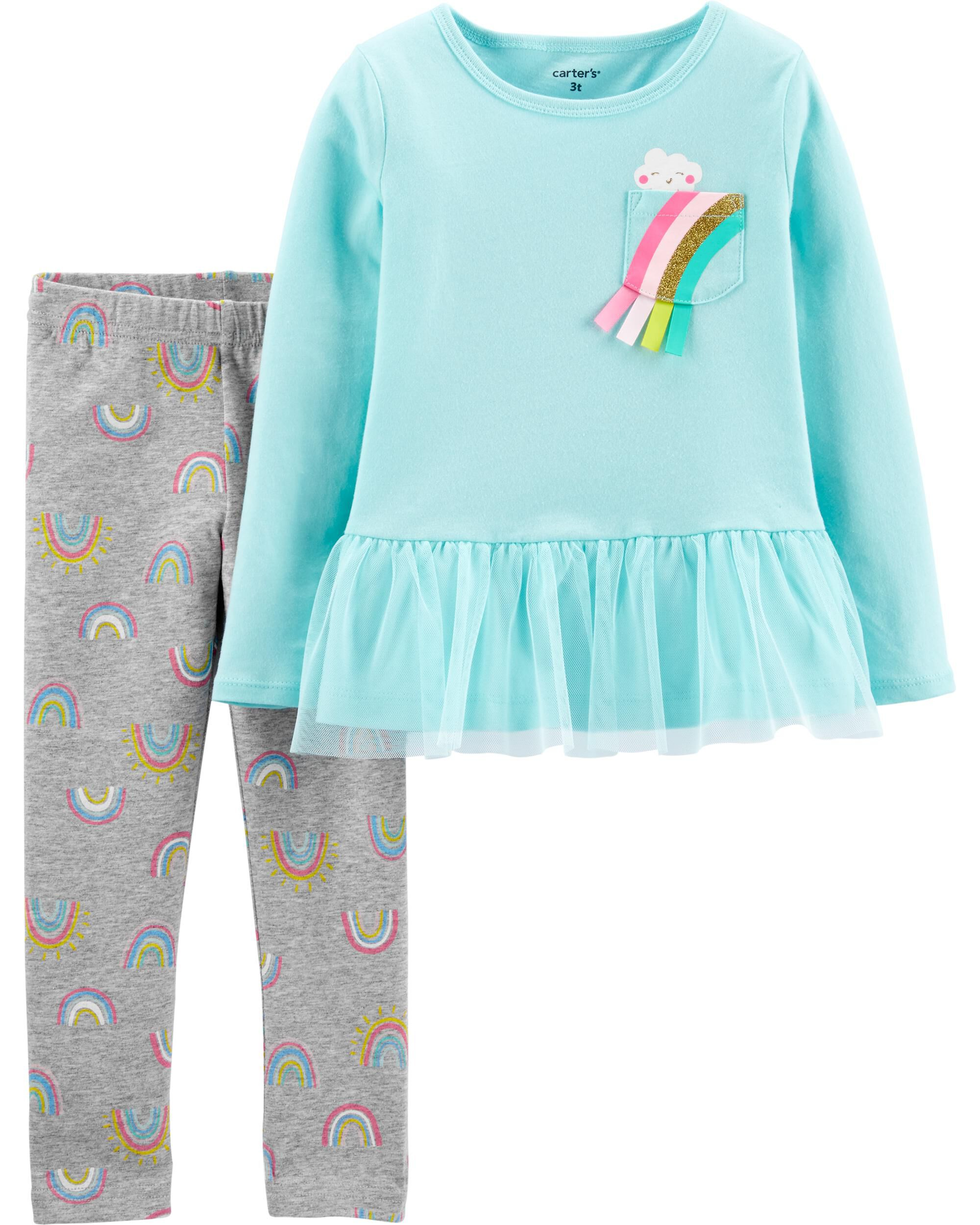 2-Piece Rainbow Peplum Top & Legging Set