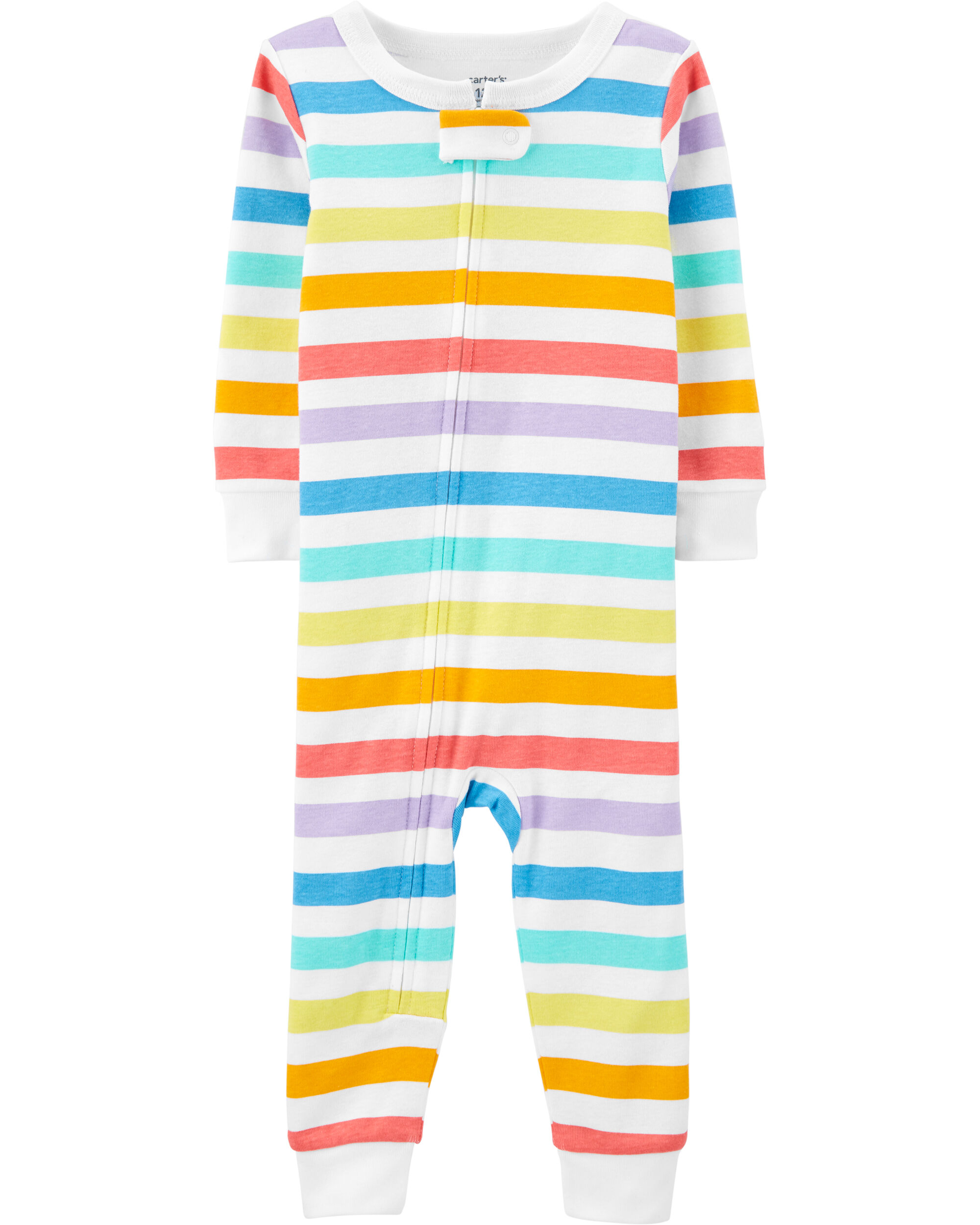 1-Piece Striped Snug Fit Cotton Footless PJs
