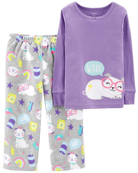 ce623eb00236 2-Piece Dog Snug Fit Cotton   Fleece PJs