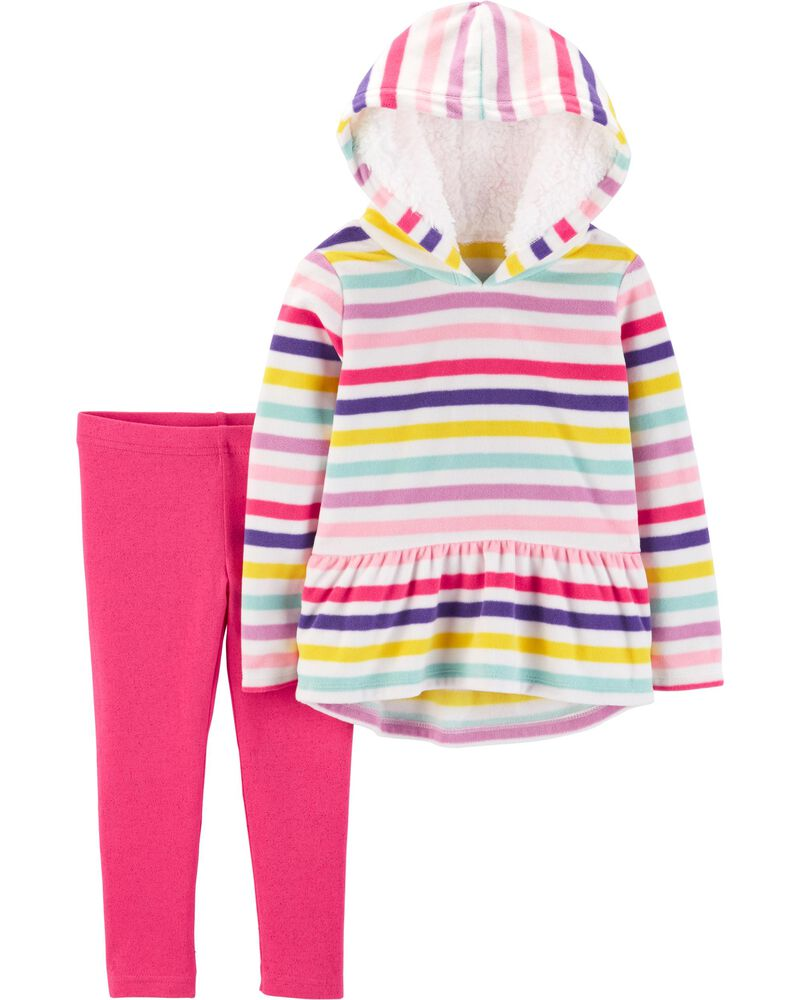 Carter/'s Girl 2 Piece White Plush Hoodie//Sparkle Leggings 6m,12m,18m,2T,3T,4T,5T