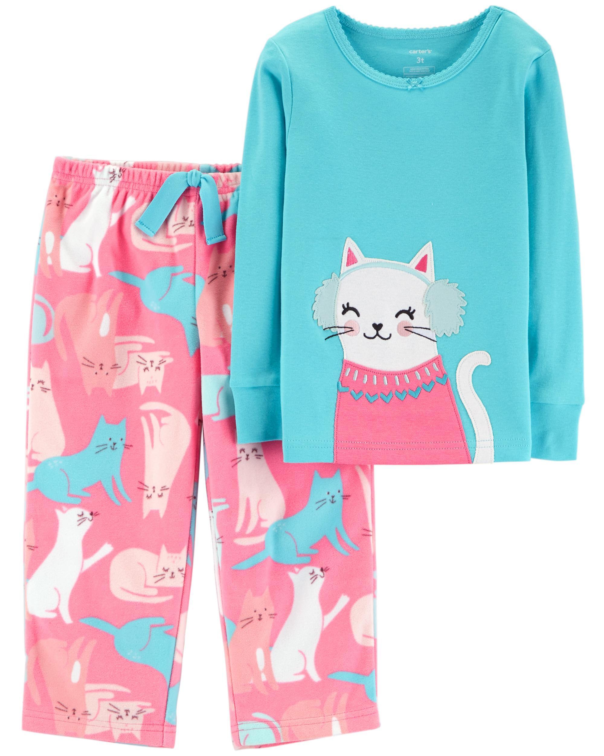 a9a4459287d5 2-Piece Snow Kitty Snug Fit Cotton   Fleece PJs
