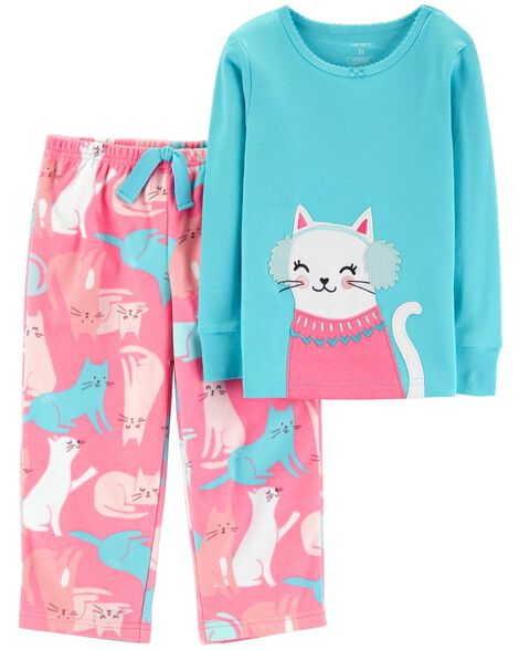 2cb1ec954951 2-Piece Snow Kitty Snug Fit Cotton   Fleece PJs