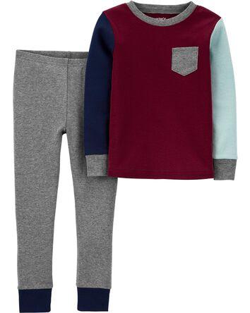 2-Piece Colorblock Snug Fit Cotton...