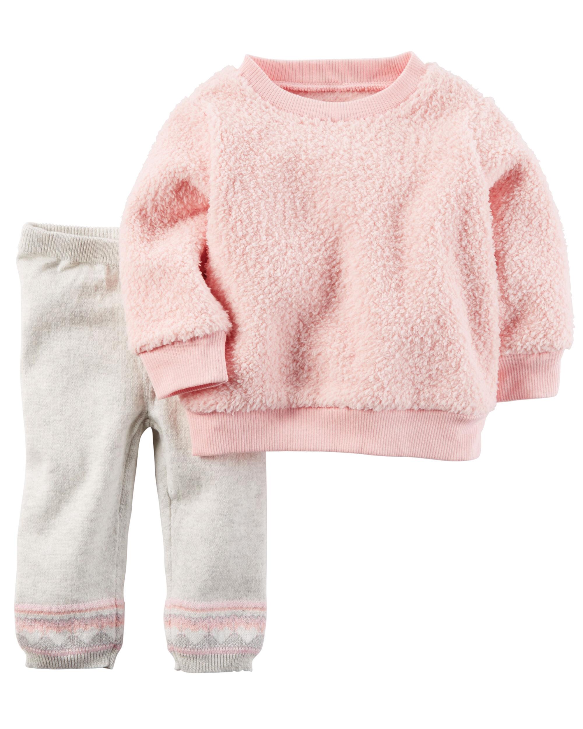 2 Piece Sherpa Top Amp Sweater Pant Set Carters Com