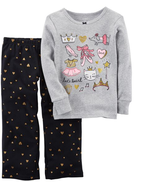 ca1e0a7416e7 2-Piece Glitter Ballerina Cotton   Fleece PJs