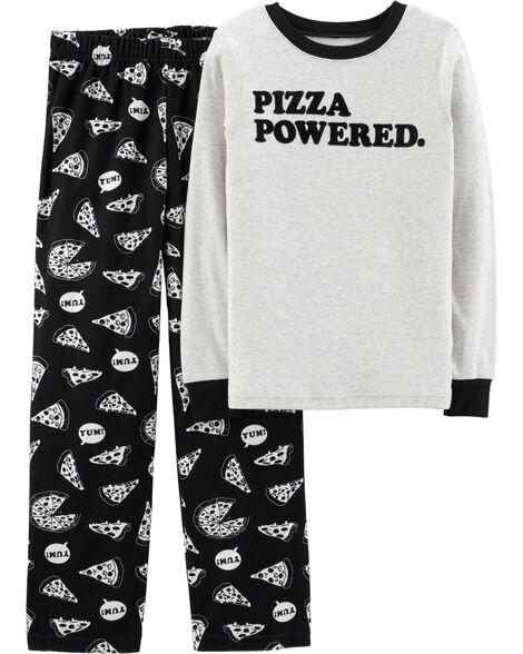 624fa7e0ba30 2-Piece Pizza Cotton   Fleece PJs