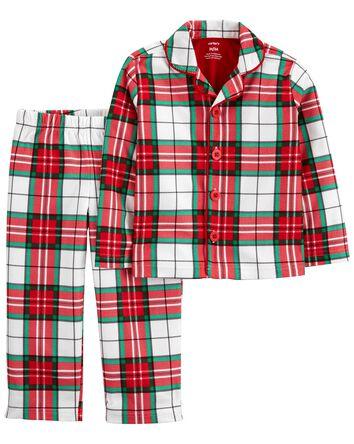 2-Piece Plaid Coat-Style Fleece PJs