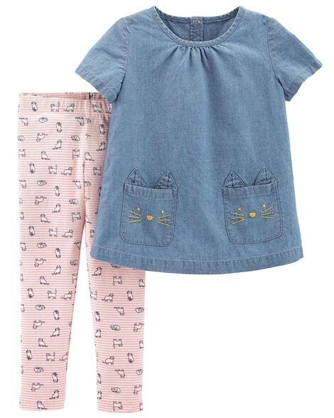 cbd3d4980de2f 2-Piece Chambray Top & Cat Legging Set | Carters.com