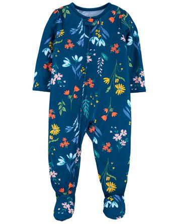 1-Piece Floral Loose Fit Footie PJs