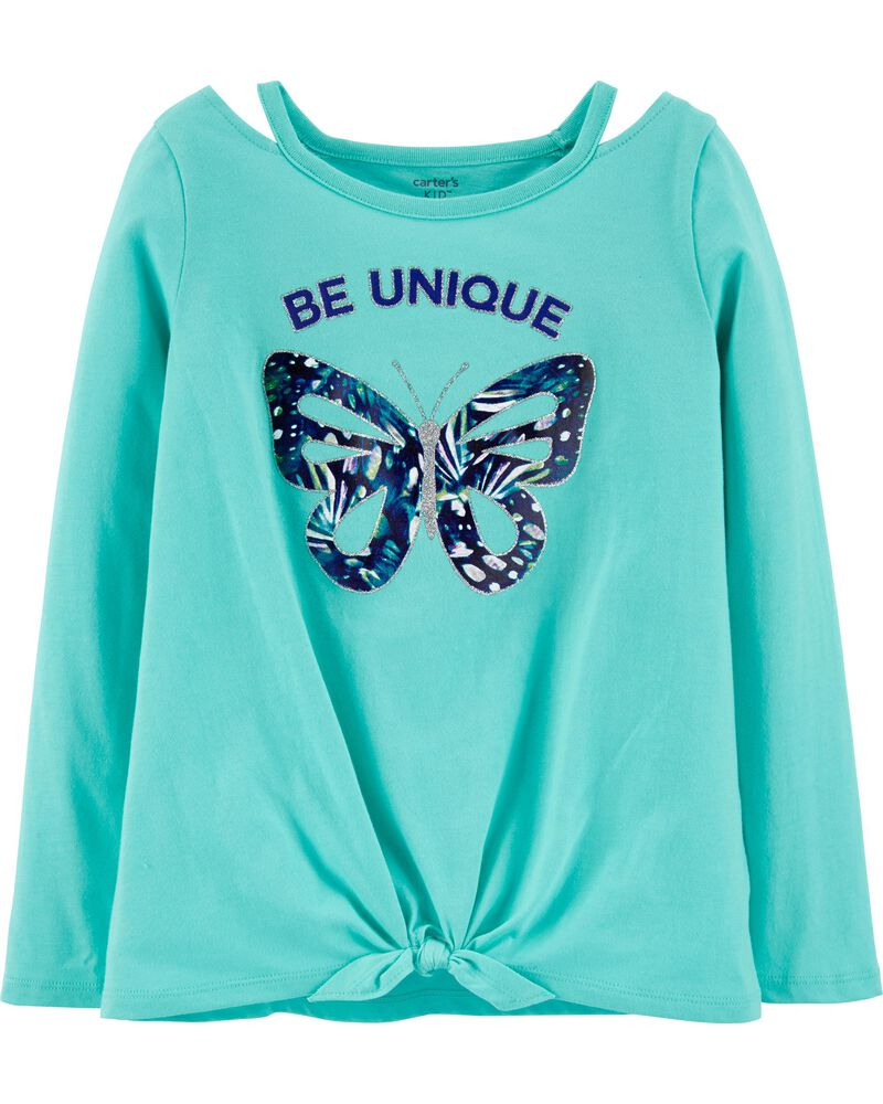 NWT Carter/'s Butterfly Shirt Top Girls Long Sleeve Turquoise many sizes