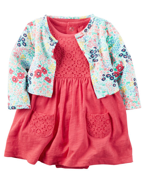 4b52cc3d9 2-Piece Bodysuit Dress   Cardigan Set