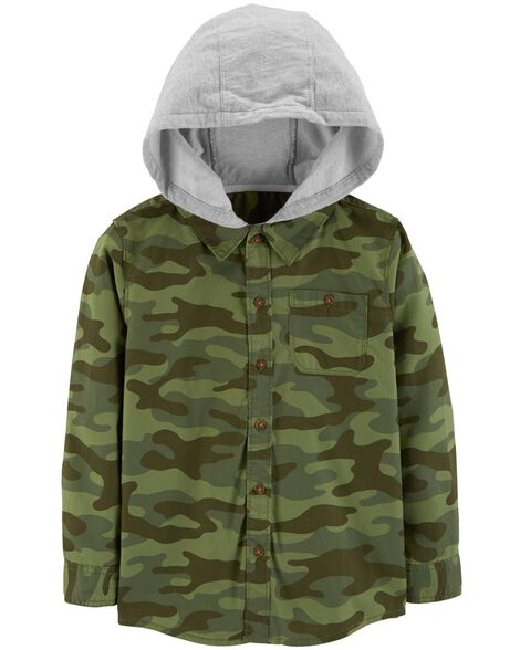 Hooded Twill Flannel Button-Front
