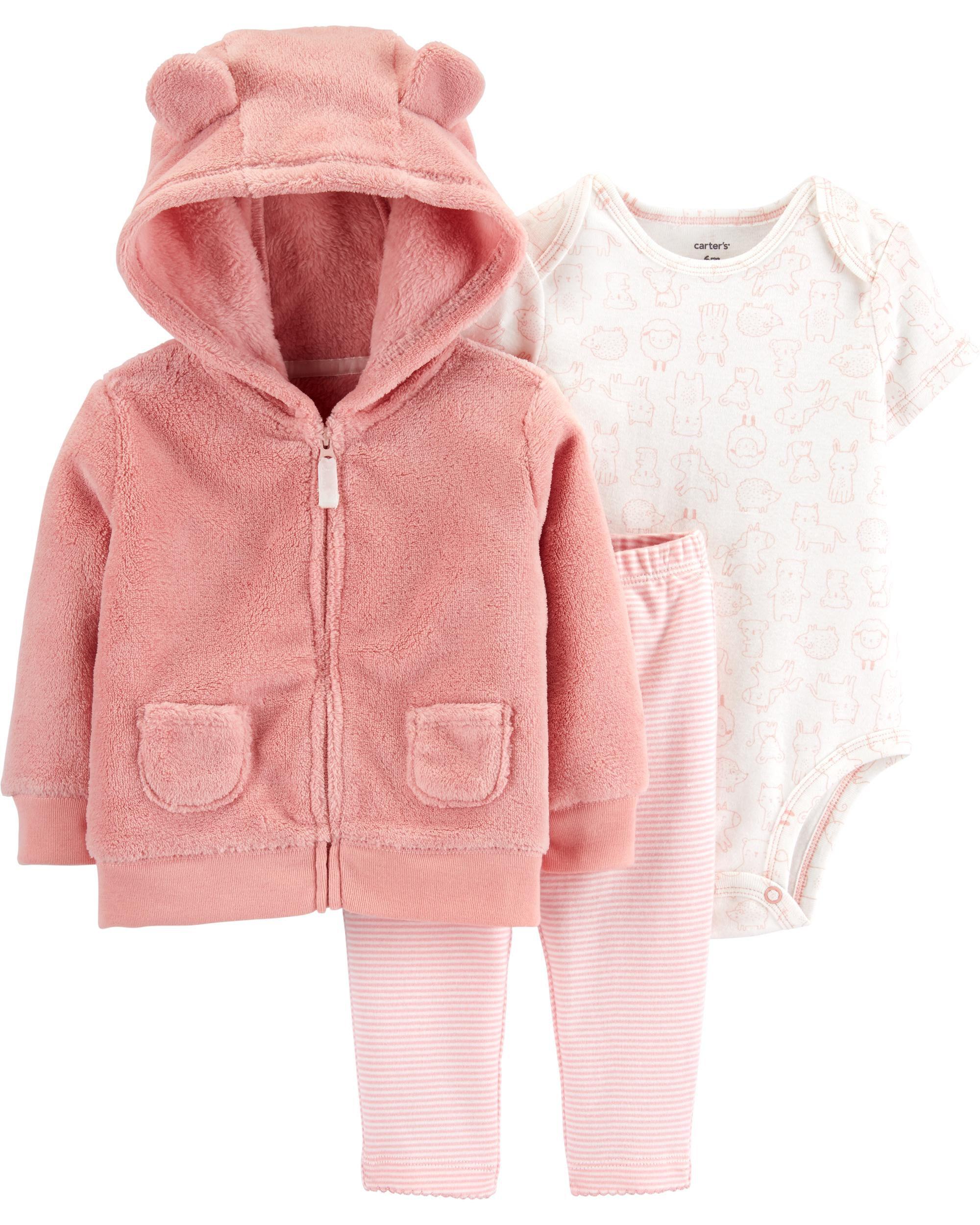 3-Piece Fuzzy Little Jacket Set