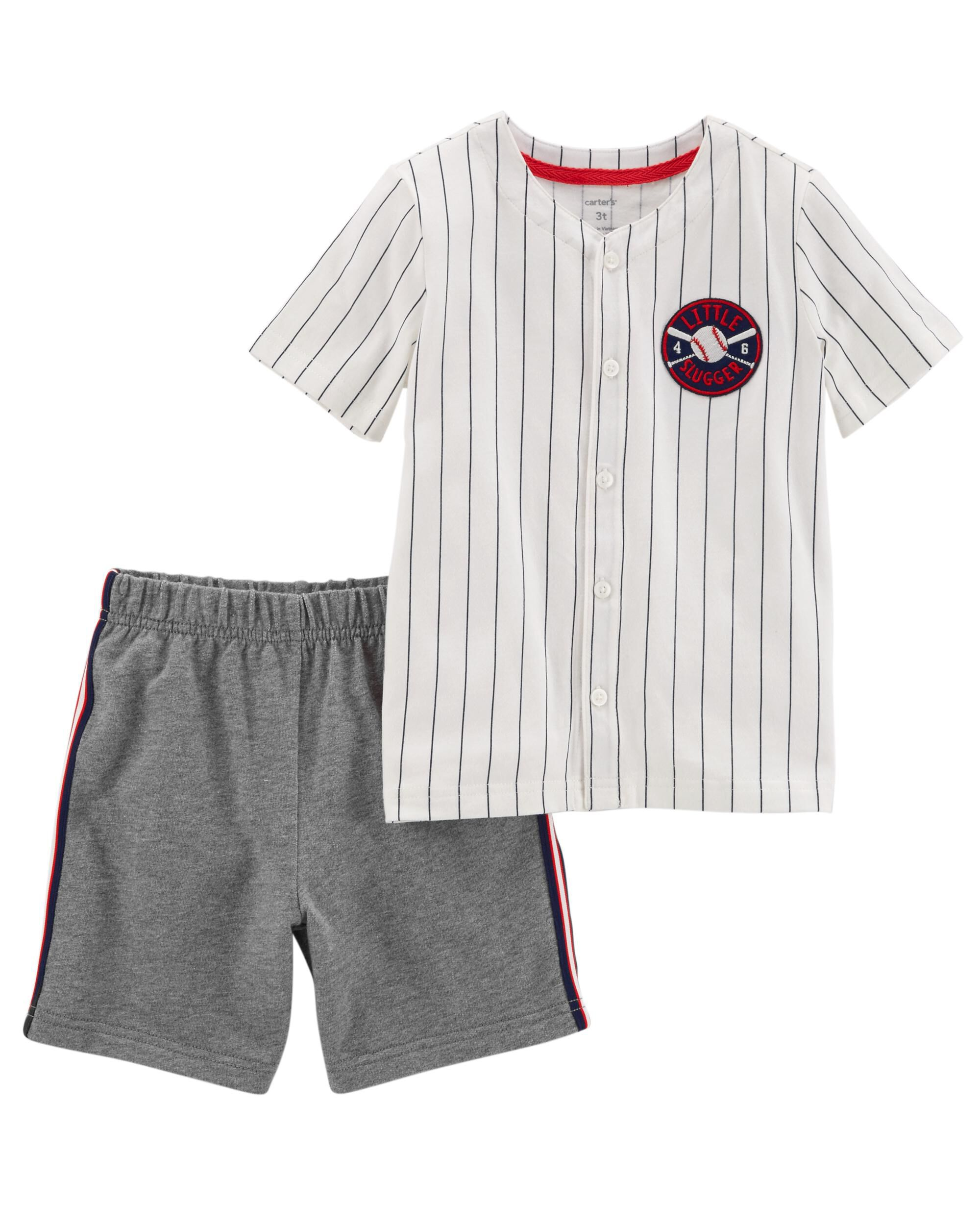 2 Piece Baseball Top & French Terry Short Set