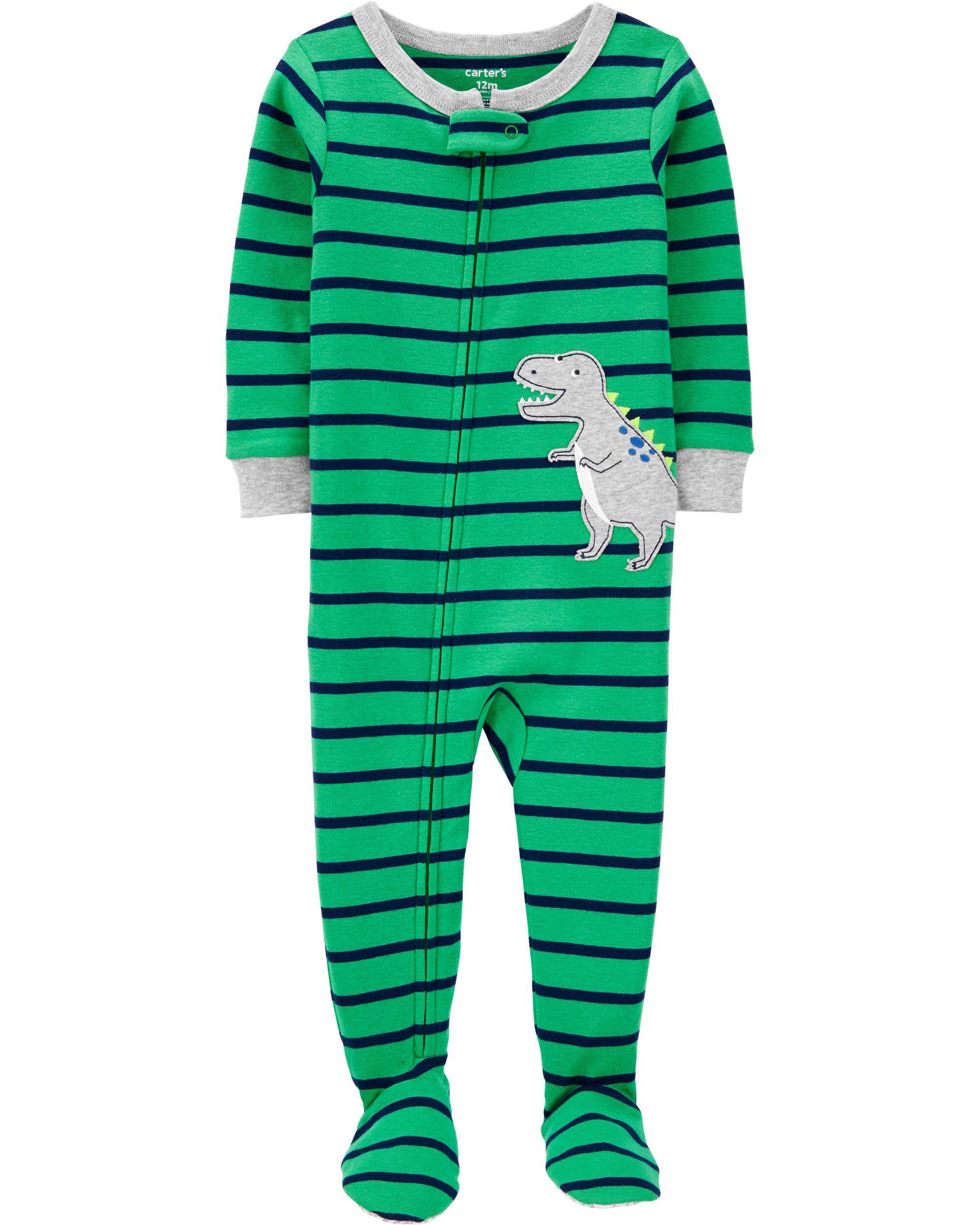 Carters Baby Boys 1Piece Snug Fit Cotton Pajama Dino White//Navy 24M