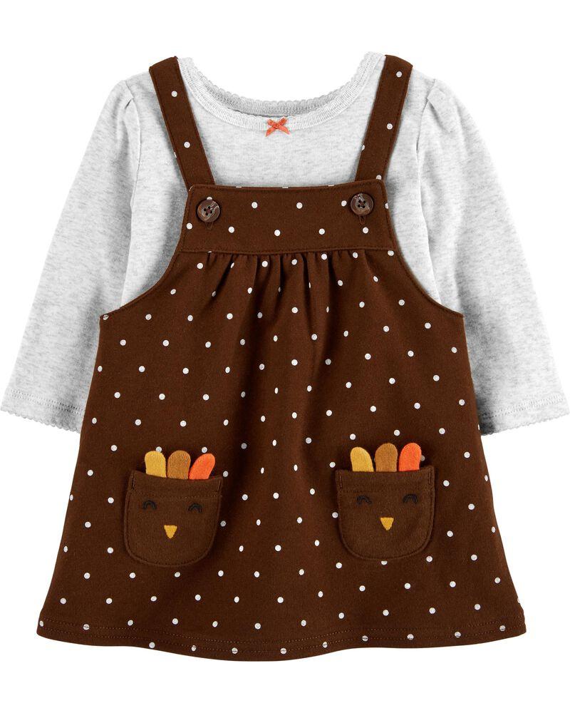1st Thanksgiving Carter/'s Jumper Dress Outfit /& Bib NEW LOT