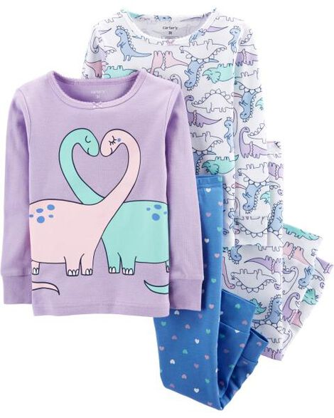 4-Piece Dinosaurs Purple Snug Fit Cotton PJs