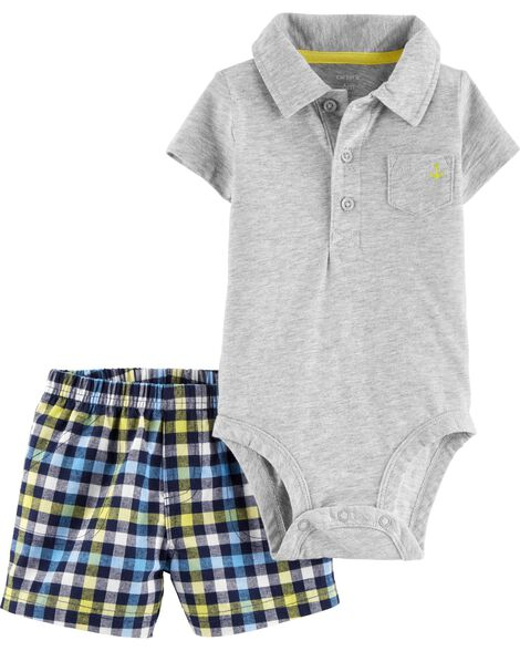 7ec73f963 2-Piece Polo Bodysuit   Plaid Short Set